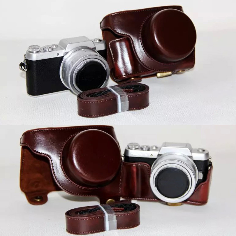 PU Leather Camera Bag Case For Panasonic DMC-GF7 Lumix GF7 2-32 X14-42mm Lens With Shoulder Strap