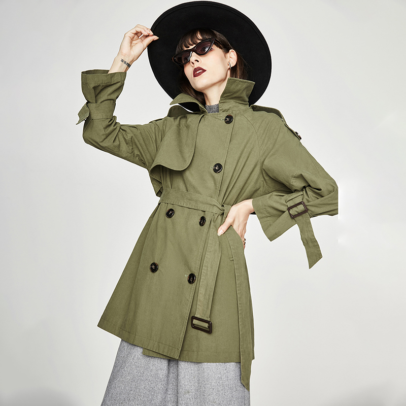 ISHOWLEE Women Trench Woman Raincoat Windbreaker Clothes Cotton Washed Thick Loose Long Eam Manteau Outerwear Cloak Female Coat