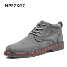 NPEZKGC Brand Faux Suede Leather Men's Boots Men Business Casual leather Shoes Autumn Winter Fashion Oxford Shoes For Men