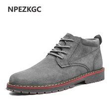NPEZKGC Brand Faux Suede Leather Men's Boots Men Business Casual leather Shoes Autumn Winter Fashion Oxford Shoes For Men