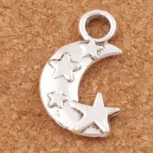 300pcs Antique Silver Moon and Star Spacer Charm Beads Pendants Alloy Handmade Jewelry DIY L198 19.1x11mm antique silver te tra gram ma ton star pendants wizard necklace