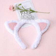 ncmama Cute Ear Hairband for Girls Winter Warm Thick Plush Headband with Crown White Fleece Hair Hoop Children Accessories