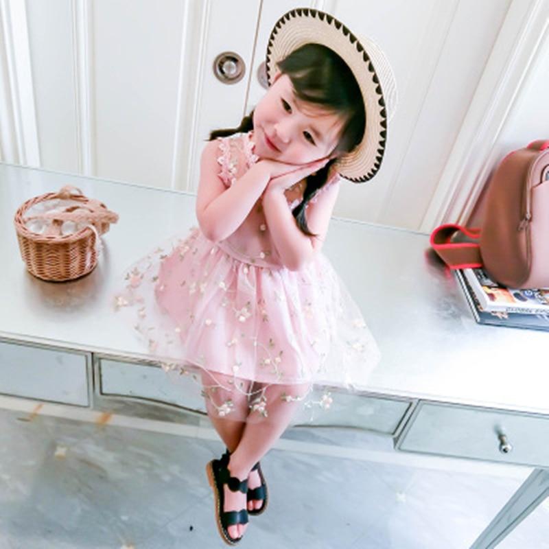 Sukienka dziewczęca 2018 Nowa letnia siatkowa odzież dziewczęca - Ubrania dziecięce - Zdjęcie 4