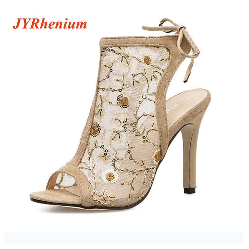 JYRhenium 2018 New Arrival Elegant Sexy Thin Heels Women Sandals Boots High Heels For Ladies Shoes Black Beige Free Shipping 22l stainless steel ultrasonic cleaner with timer and heater including washing basket