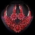 Мода Красные Стразы Свадебный Комплект Ювелирных Изделий Свадебная Пром Аксессуары Позолоченные Ожерелье Серьги Для Невесты L001061