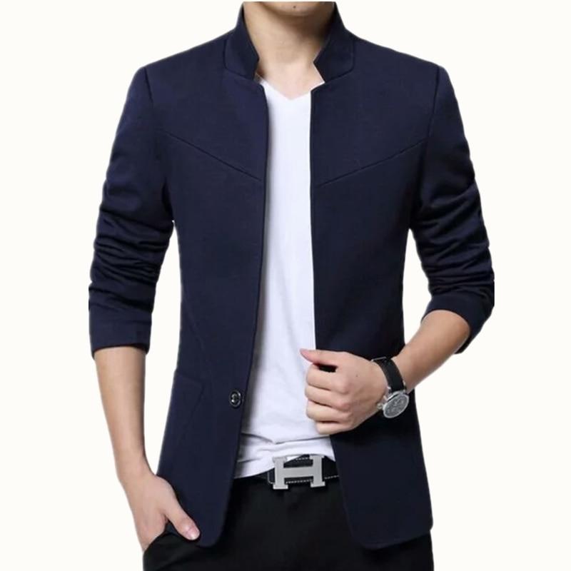 2017 ни Англия Стиль хлопок сплошной M-5XL Размеры воротник-стойка Формальное masculino костюм Homme Регулярный одной кнопки полный Blazer