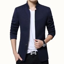 Plus Size 5XL Blazer Men Mandarin Collar Americana Hombre Business Casual Silm F