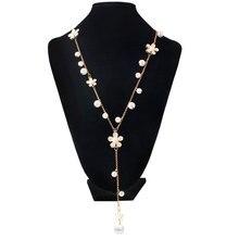 F & U Европа Модные Популярные Золотой Цвет Сплава Цинка Цветок Долго Ожерелье для Женщин