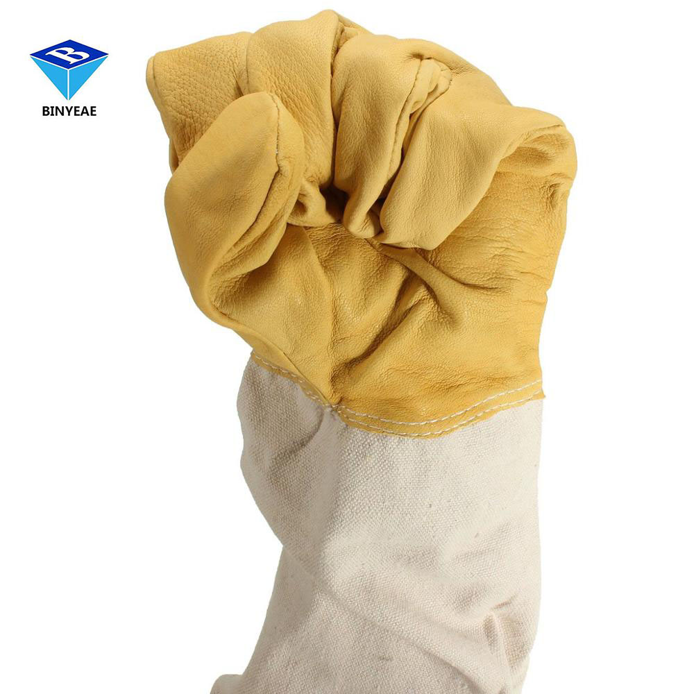 Yellow And White Pair Beekeeping Goatskin Cape Gloves Xxl Sheepskin W/ Vented Long Sleeves Guard New Genuine Binyeae комплектующие для кормушек beekeeping 4 equipment121mm 91 158
