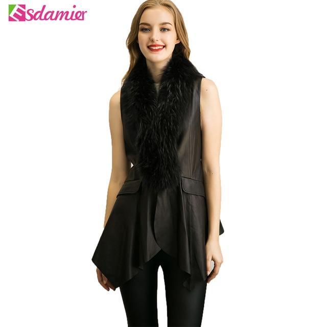 European Faux Fur Vest Coat For Women Slim Irregular Leather Jacket Women Sleeveless Veste Femme Black Long Leather Waistcoat