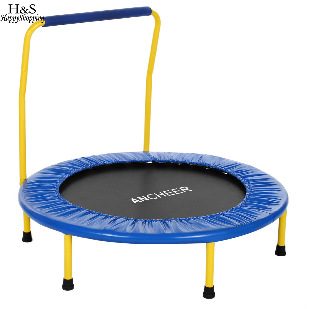 ANCHEEER new Trampoline Set Children Kids Portable Foldable Durable Construction Safe Trampoline with Padded Frame Cover Handle