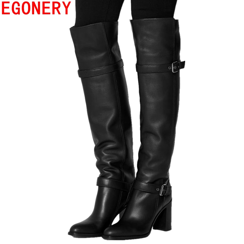 EGONERY Cow Leather knee high Western boots handmade woman party Motorcycle boots winter spring plush High heels women shoes
