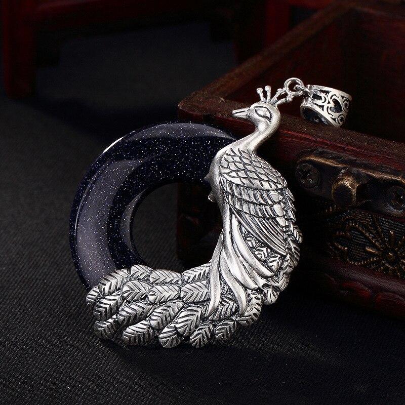 S990 argent pur rétro paon incrusté avec boucle de sécurité long chandail chaîne pendentif femme