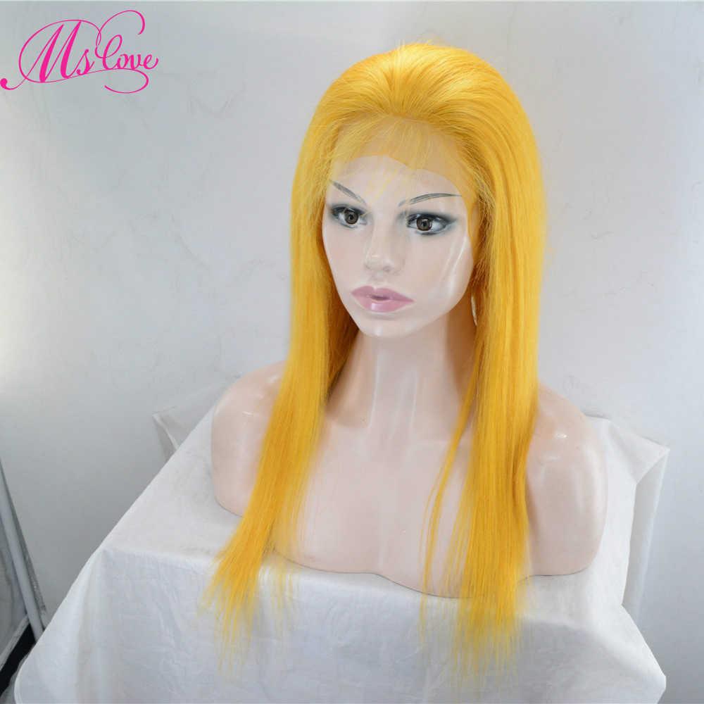 Pelucas del pelo humano del cordón del amor del MS pelucas del pelo humano rojo azul gris rosa púrpura amarillo pelo recto brasileño pelucas frontales Remy 130% 150% de densidad