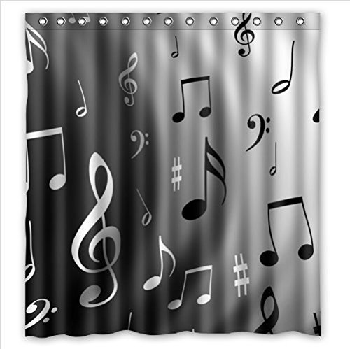 Music Notes Waterproof Polyester Fabric Shower Curtain 66 x 72
