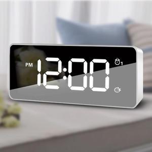 Alarm-Clock Led-Mirror Number-Display Bedside Snooze Time Dual-Alarm Digital Night-Mode