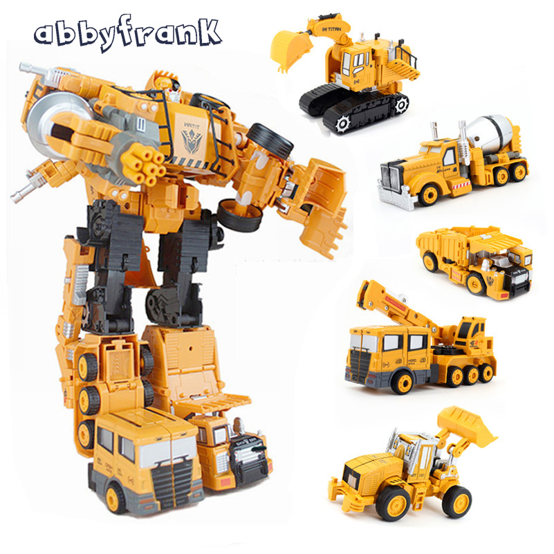 все цены на Abbyfrank 5 In 1 Super Transformation Robot Car Metal Alloy Deformation Robot Engineering Construction Vehicle Truck Excavator