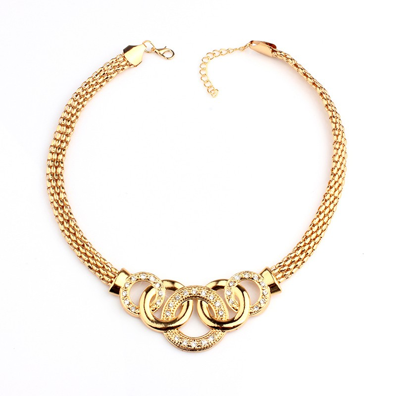 VIVILADY Classic Rhinestone Jewelry Sets Women Fashion African Round Gold Color Necklaces Bracelets Earring Ring Accessory Gift