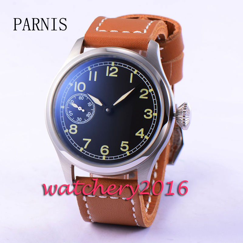47mm Parnis black dial stainless steel case 6497 Hand Winding movement Mens Wrist Watch stylish 8 led blue light digit stainless steel bracelet wrist watch black 1 cr2016