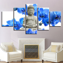Buddha Blue Faith Canvas HD Prints Paintings Wall Art Framework Home Decor 5 Pieces Sacred Om Symbol Posters Yoga Pictures(China)