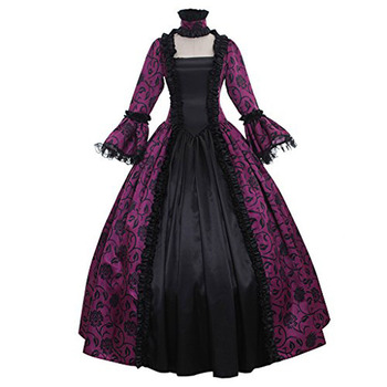 Lolita Gothic Middle Ages Restoring Ancient Ways Cos Long Sleeve Printing Joining Together Dress Court Dress Cosplay фото