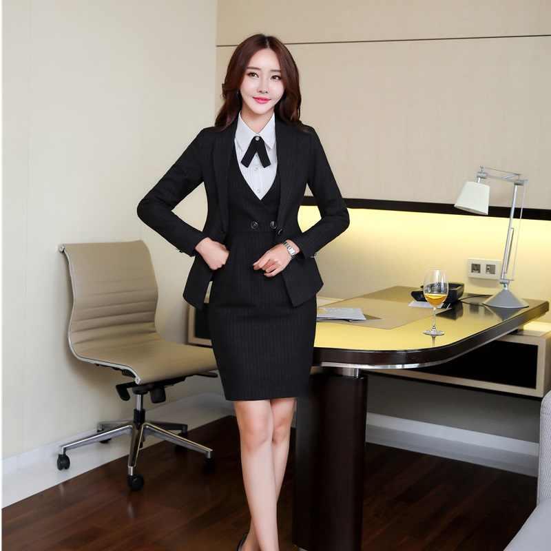 badf30f8e40c633 Женские офисные элегантные Пиджаки Костюмы с 3 предмета куртки и платье и  блузка для Для женщин