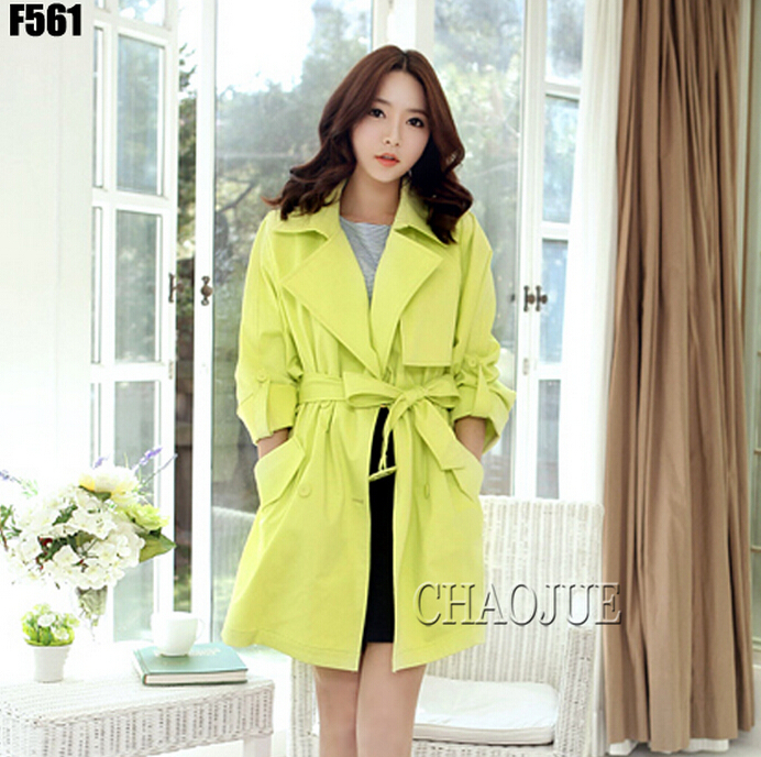 2019 Women's brand fashion new spring outergarment colorful neon green casual trench outerwear plus size coat clothing / S-XXXL