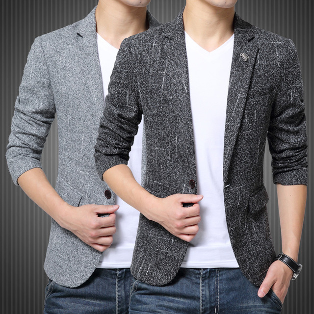 2016 New Products Men's Clothing Pure Color Slim Business Fashion Regular Sleeved Cotton Male Leisure Mens Blazers Freeshipping