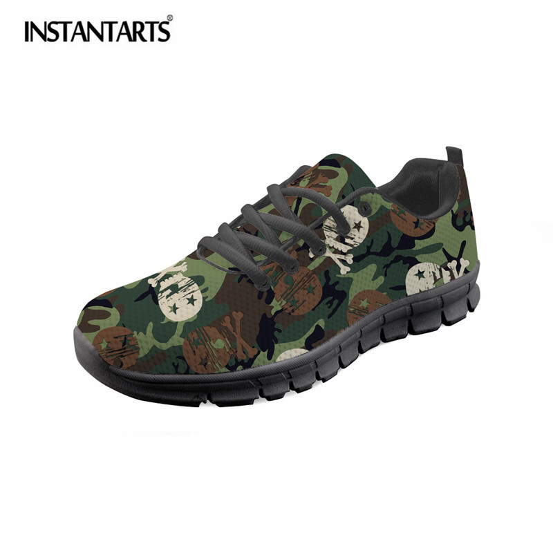 INSTANTARTS Cool Skull Printed Men Casual Mesh Shoes Spring Comfortable Lacing Flat Shoes Fashion Breathable Light Sneaker Shoes