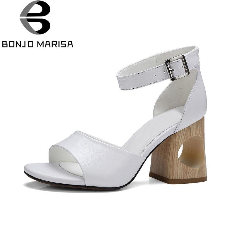 BONJOMARISA/2018 г. Фирменная новинка детские из натуральной замши женская обувь белого цвета на высоком каблуке в виде копыта офис изящные летние ...