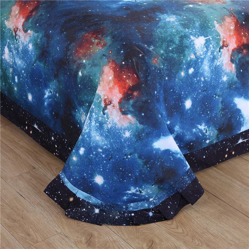 iDouillet 3D Nebala Outer Space Star Galaxy Bedding Set 2/3/4 pcs Duvet Cover Flat Sheet Pillowcase Queen Twin Size 14