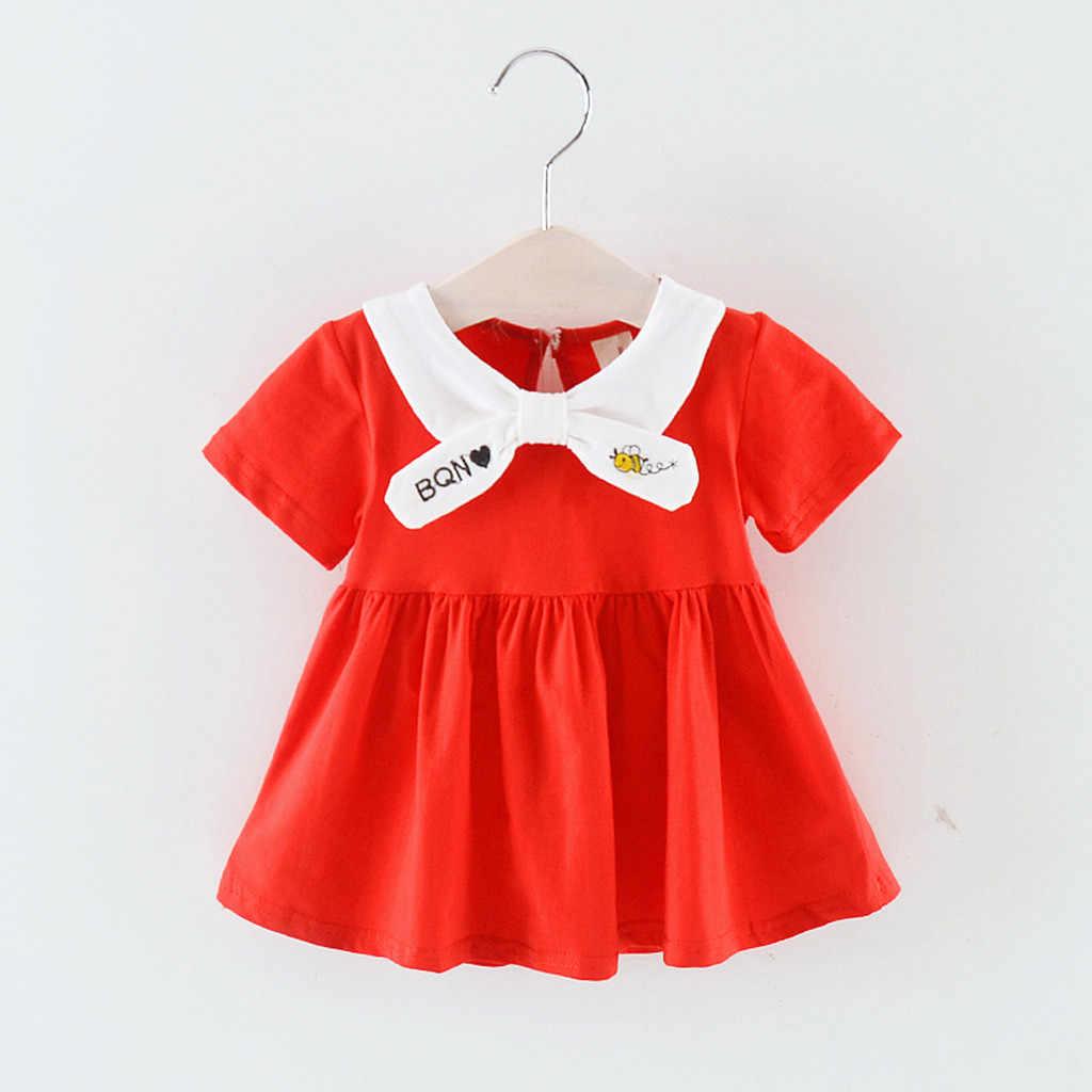 Infantile enfant bébé fille à manches courtes dessin animé imprimé fête robe de princesse vêtements
