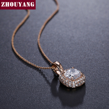 ZHOUYANG Top Quality Classic Crystal Rose Gold Color Pendant Necklaces Made with Austria Crystal Wholesale ZYN112 ZYN111
