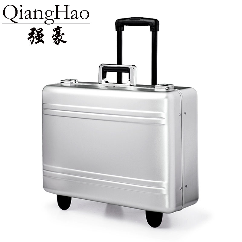 Pure metal full magnesium aluminum alloy suitcase rolling luggage for men and women 20 inch trolley
