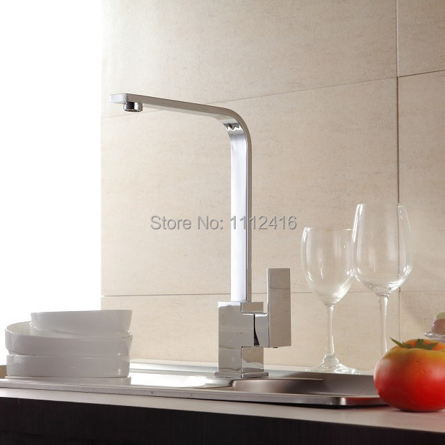SUS 304 Stainless Steel Square Type Kitchen Faucet Water Sink Mixer