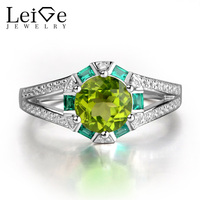 Leige Jewelry 925 Sterling Silver Rings Anniversary Engagement Peridot Rings For Women Round Cut Prong Setting