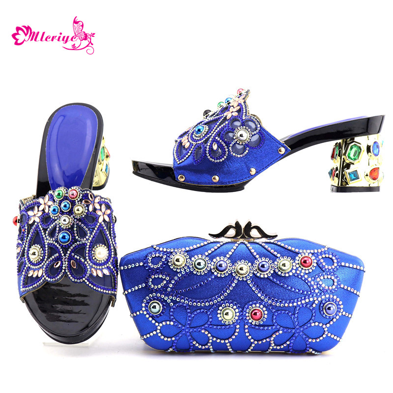 Italian Shoes with Matching Bags Shoes and Bag Set African Sets 2018 Shoe and Bag Italian Design Sets 2018 New Arrival blue цена