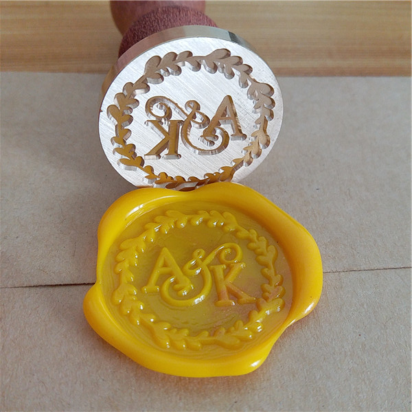 two letter design with wedding date custom wax seal stamp Wedding invitation card envelope gift sealing wax stamp wax seal боди edge street edge street ed008ewsqf15