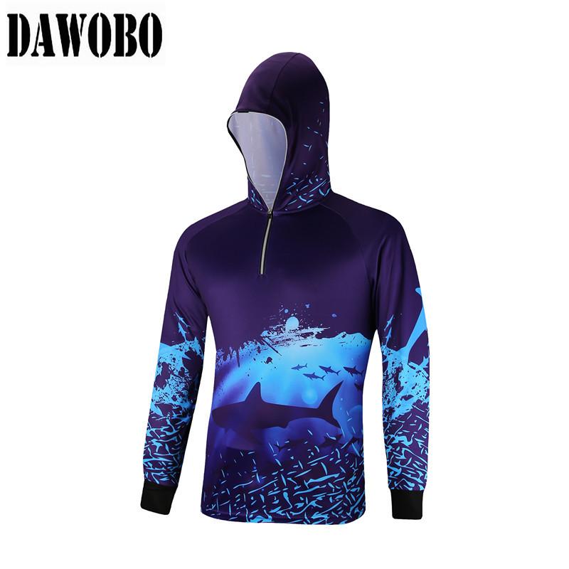 Men Fishing Hooded Clothing Outdoors Quick-Drying Breathable Long Sleeve Shirt