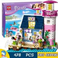 478pcs Friends Heartlake Lighthouse Ice Cream Shop Kat Stephanie 10540 Model Building Bricks Blocks Toys Compatible With Lego