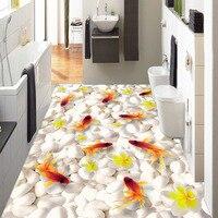 Custom 3D Floor Mural Wallpaper Swimming Goldfish In The Water PVC Self Adhesive Waterproof Living Room