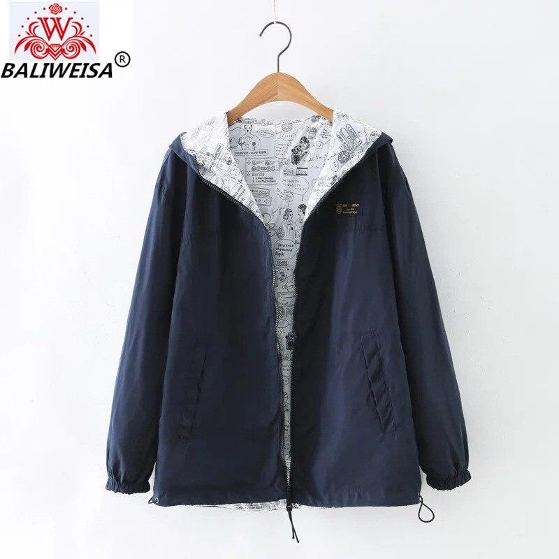 BALIWEISA 2019 New Autumn Women Bomber   Basic     Jacket   Pocket Zipper Hooded Two Side Wear Cartoon Print Outwear Navy Loose Coat