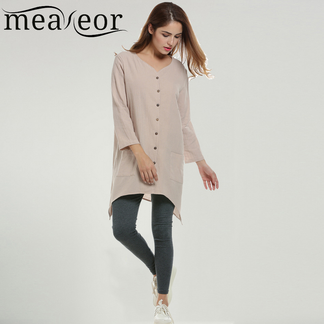Meaneor Brand New Women Long Blouse Casual V Neck Button Up Linen Cotton Loose Fit Ladies Gown Asymmetrical Hem Long Blouse Tops