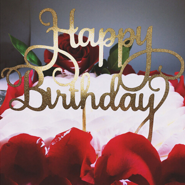 Aliexpress Com Buy Glitter Happy Birthday Cake Toppers Decoration