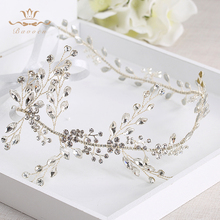 Bavoen Wedding Handmade Silver Hairbands Brides Korean Soft Rhinestone Tiara Headwear Crystal Hair Jewelry