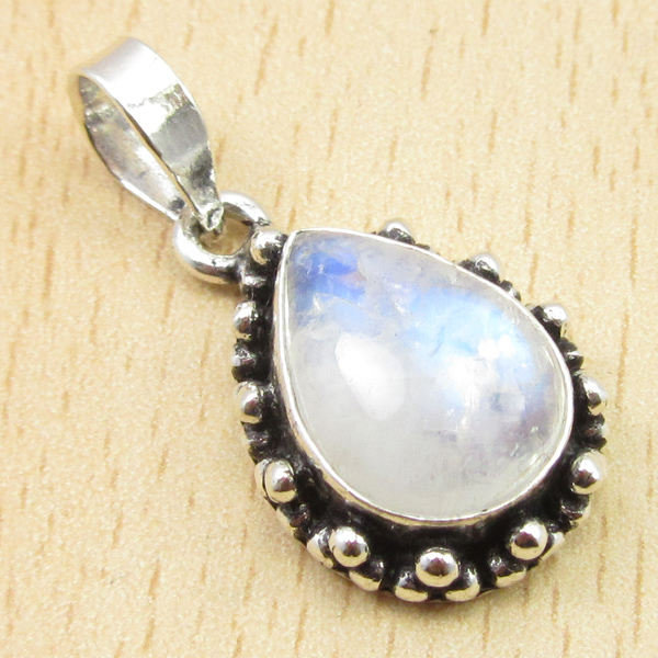 Wonderful LARIMAR Gem Pendant 1 1/8 Inches, Silver Plated Jewelry Variation