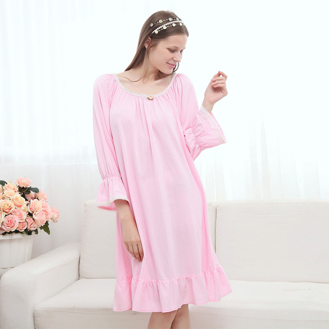 ac30c92d75 Free Shipping High Quality Autumn 100% Cotton Princess Women s Nightgown  Vintage Pijamas Long Sleepwear Cotton