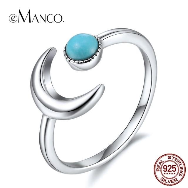 5c69dc65e48 € 3.85 49% de DESCUENTO|EManco venta al por mayor 925, luna de plata,  brazalete de Tamaño 7 de piedra azul amantes boda mágico encantador anillos  ...