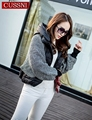 2016 ladies autumn and winter outerwear knit bat sleeve short jacket fashion  white duck down coat warm cap zipper model outwear