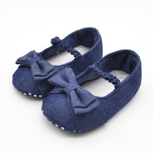цена на  First Walkers For Baby Shoes Butterfly-knot Color Blue Baby Shoes Soft Sole Shoes Comfortable For 0-15 Month For Baby Girls